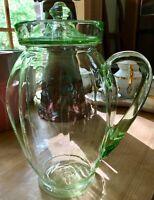 Antique Vaseline Glass Green Large Pitcher & Lid
