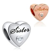 Sister Love Charm Bead Christmas Birthday Gift for European Bracelets + Gift Bag