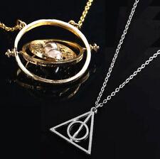 Lote dos Collares colgantes Giratiempos y triángulo Floray plateado Harry Potter