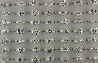 60Stk.Großhandel gemischte Lose Schmuck Legierung Ringe Frauen Silber Farbe Ring