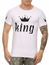 Herren T-Shirt Weiß Rundhals King Krone aufdruck Royal Slim Fit shirt John Kayna
