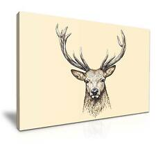 Deer Stag Head Animals Canvas Wall Art Picture Print 76x50cm