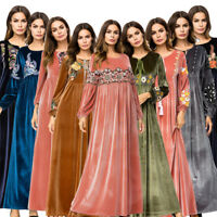 Muslim Women Embroidery Velvet Dress Long Maxi Abaya Robe Islam Kaftan Gown New