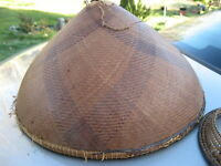 """Grass Weave Hat Found on Ho Chi Minh Trail 7"""" Tall 12"""" Wide Chinese Vietnamese"""