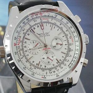 Jaragar Automatic Stainless Steel Leather Strap Skeleton Sports Watch - New