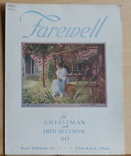 Farewell - 1917 large sheet music - color tinted cover photo of woman in summer