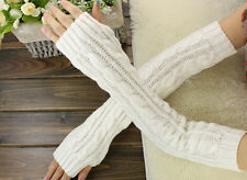 Long Thick Warm Knit Wool Gloves Fingerless White Free Shipping