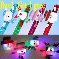LED Light Glow Xmas Slap Circle Bracelet Wrist band Christmas Dazzling Toy NE/OO