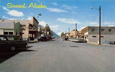 Seward Alaska c1964 Postcard Main Street Shops and Cars