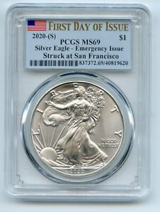 2020 (S) $1 Silver Eagle 1oz Dollar Emergency Issue PCGS MS69 First Day of Issue
