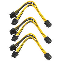 3Pcs PCIe 6pin to Dual 8pin(6+2) Video Card Power Connector Cable