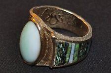 Jade 14k  Ring, Navajo, Carl & Irene Clark, Tufu Cast, Inlaid 150+ stones
