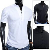 Mens Henley Short Sleeve Shirt Grandad Collar Casual Loops Slim Cotton Summer