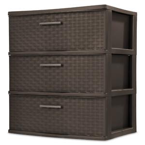 3 Drawer Wide Weave Tower Durable Plastic Indoor Home Storage Organizer