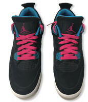 Air Jordan 4 Girls Retro Black Vivid Pink Blue 4.5 UK  US 5Y  487724-019 AJ's 4