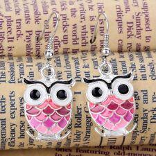 Charming Pink Owl crystal Silver Plated Women Jewelry Hook Earrings