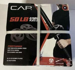 /& Bar W// Clips. OLYMPIC BARBELL 4 LESS NEW CAP 180LB SET Plates 4x25,4x10,2x5