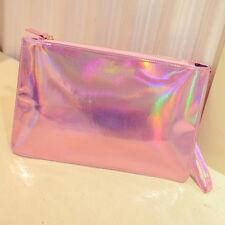 Holographic Laser Metallic Shine Handbag Messenger Bag Envelope Clutch Evenin wl