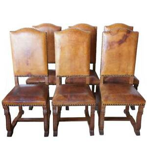 Set 6 Antique French Louis XIII Style Leather and Oak Dining Side Chairs c. 1920