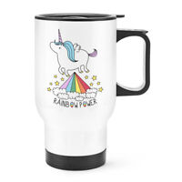 Unicorn Rainbow Power Travel Mug Cup With Handle - Funny Thermal Flask