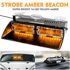 AU 16 LED Amber Car Police Strobe Warning Flashing Light Dash Emergency Lamp Bar