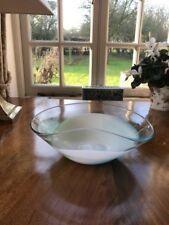 Beautiful Modern Glass Bowl 29cm wide 9.5 cm high Blue White Green Clear