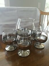 Vintage Snifter Glass Pitcher With 4 Small Sipping Glasses