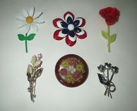 SALE Antique JEWELRY LOT  - ENAMEL FLOWER CELLULOID RHINESTONE Brooch Collection