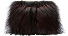 NEW Diane von Furstenberg DVF Soiree Tuxedo Flap Fur Clutch Bag Red Black