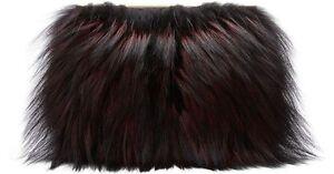 NEW Diane von Furstenberg DVF Soiree Tuxedo Flap Fur Clutch Bag Red Black