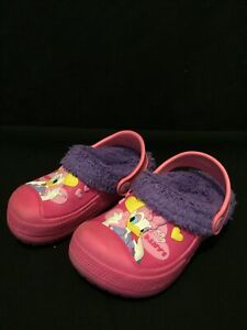 Rare Disney Daisy Duck Faux Fur Lined Pink Rubber Clogs Shoes Size 170  Kids 10
