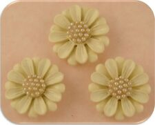 2 Hole Beads Flowers Designer Daisy Off White w/Faux Pearl Cluster Centers Qty 3