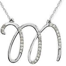 "Diamond ""M"" Initial Pendant 18"" Necklace 14K White Gold"