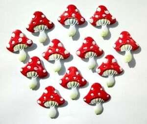Buy One Get One Free - 12 Metal Painted Mushroom Embellishments New C0801