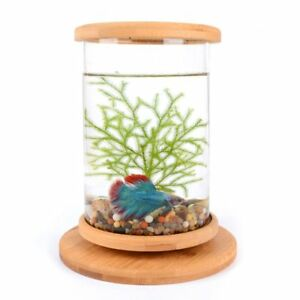 1pcs Glass Betta Fish Tank Bamboo Base Mini Decoration Accessories Rotate Bowl