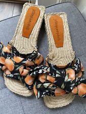 Jeffrey Campbell Black & Orange Espadrille Slides / Sandals Size 4
