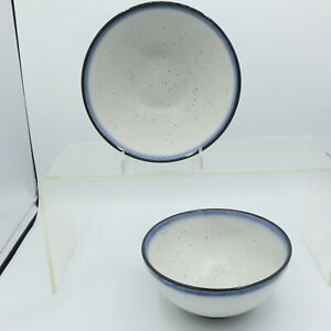 2 Cereal Fruit Side Bowls Dip-Dye Blue Speckled Lucky Brand Home Stoneware