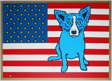 George Rodrigue Blue Dog Red White and Blues Silkscreen Print Signed Numbered