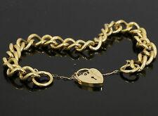 "9ct Yellow Gold 7"" Curb Link Charm Bracelet W/ Heart Padlock Clasp 8mm Width"