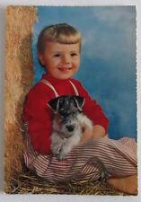 Cartolina d'epoca -  Bambino -  postcard - tarjeta - cane