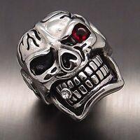 MENS Huge Silver Skull Red Eye Cigar CZ 316L Stainless Steel Biker Ring