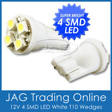PAIR 12V 4-SMD LED T10 WEDGE GLOBES COOL WHITE- Car/Truck/RV Interior Light Bulb