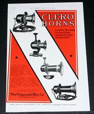 1915 OLD MAGAZINE PRINT AD, FITZGERALD, CLERO CAR HORNS FOR THE LOUDEST WARNING!