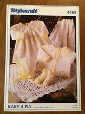 Stylecraft 4ply Knitting Pattern 4163 Premature Baby Dress Cardigan Shawl  (1400