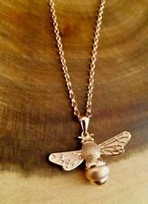 "925 Sterling Silver Rose Gold Bee Pendant Necklace INCLUDING 20"" Chain"