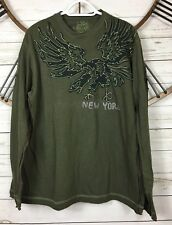 Marc Ecko Mens Long Sleeve Graphic Shirt Army Green Eagle Embroidered Studded L