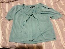 Boden turquoise Green Cardigan 8 silk linen blend short sleeve