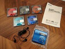 Sony Portable Recording MiniDisc Player Walkman MZ-R501 Blue + 5x 80 min discs