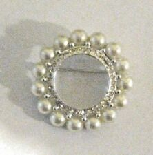 "Brooch with Faux Pearl Border Round Circular 1 1/4"" Inch Silver Fashion Pin"