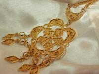 Vintage 1980's Large Runway Gold Tone Very Detailed Super Showy Necklace  527jn9